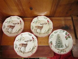 "Set 4 Better Homes & Gardens Christmas Heritage Deer Tree 8 1/2 "" Salad Plate"