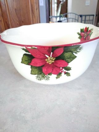 Better Homes And Gardens Poinsettia Holiday 2009 Serving Bowl