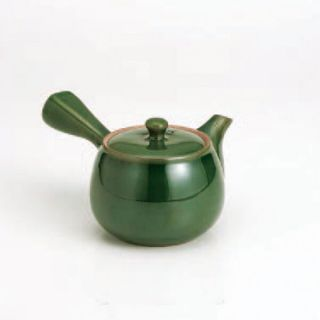 Kyusu Teapot : Sozan (400cc/ml) Dark Green - Kago Ami Stainless Steel Net
