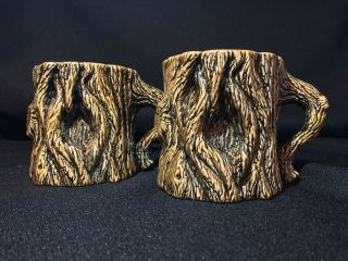 Vintage Tree Trunk Pottery Mugs Hand Crafted Deep Woods Earthy Signed 1982