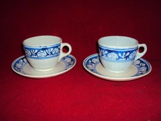 2 Dedham Pottery Arts And Crafts Rabbit Coffee Cups & Saucers 2