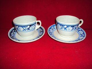 2 Dedham Pottery Arts And Crafts Rabbit Coffee Cups & Saucers 1