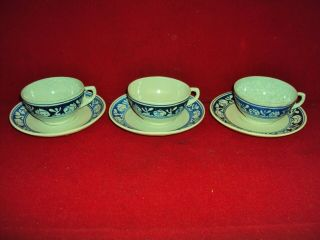 3 Dedham Pottery Arts And Crafts Rabbit Coffee Cups & Saucers