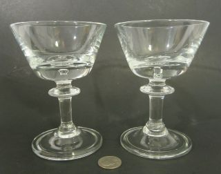 "2 Hadeland Norway Crystal "" Tangen "" 4 Oz Martini Champagne Glass Goblets 5.  5 "" Mcm"