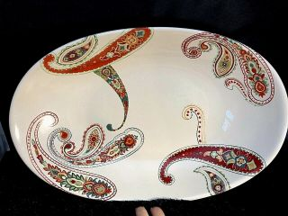 """Tabletops Unlimited Multi Paisley 17"""" Oval Serving Bowl Hand Painted Crafted Htf"""