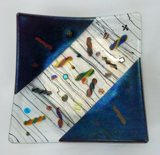 "Signed Kurt Mcvay Hand Crafted Studio Art Glass Plate Dish 9 3/4 "" X 9 3/4 """