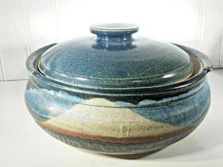 N.  Ga Studio Art Pat Mccaffery Hand Crafted Stoneware Pottery Lidded Casserole