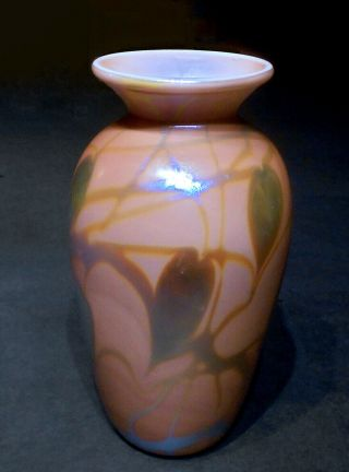 Vtg.  Carlson Art Glass Don Richardson Iridescent Lustre Vase Muave Heart Vine