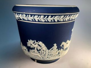 Wedgwood English Blue Jardiniere Large Old Pottery Ceramic Vase
