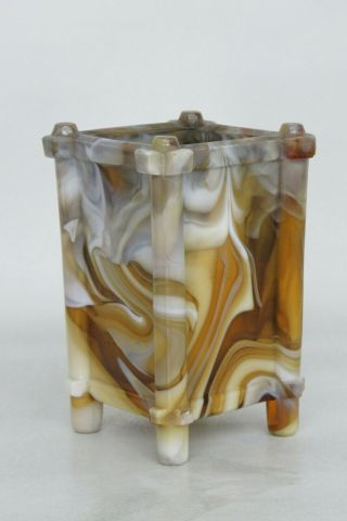 Caramel Slag Glass Arts Crafts Footed Toothpick Matchbox Holder Vase 1624b