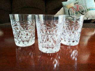 Crystal Cut Double Old Fashioned Whiskey Scotch Glasses Set Of 3 Diamond & Vines