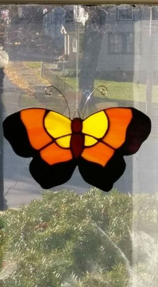 Monarch Butterfly Stained Glass Suncatcher,  Hand Crafted