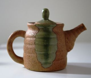 Crafted Porcelain Hand Asian Tea Pot Green Sand Pottery Thrown Rustic Charming