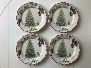 Better Homes And Gardens Heritage Salad Plates Tree Rabbit Christmas Set Of 4