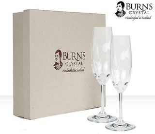 Burns Handcrafted Crystal Flower Of Scotland Champagne Flute Pair,  Set Of 2