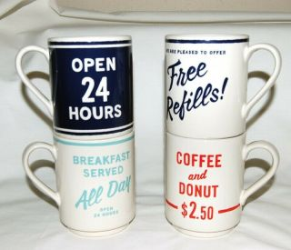 Kate Spade Lenox All In Good Taste Retro Diner 12oz Stacking Coffee Mug Set