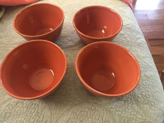 Pottery Barn Set Of 4 Cambria Persimmon Hand Crafted Soup Salad Bowls Portugal