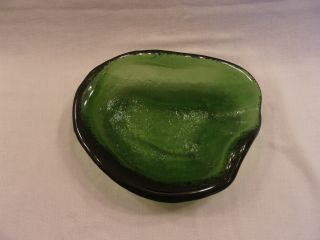 Heavy Green Hand Crafted Textured Art Glass Candy/nut Dish (recycled Glass ?)