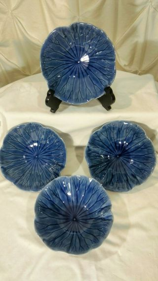Metlox Vernon Poppytrail Lotus Medium Blue Set Of 4 Cereal Bowl Hand Crafted Usa