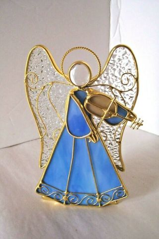 Hand Crafted Stained Glass Winged Angel W Violin Votive Candle Holder