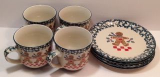 (8) Folk Craft Tienshan Gingerbread Spongeware Dessert Plates Coffee Mugs Green