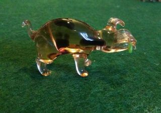 Vintage Murano Style Hand Crafted Glass Pig.