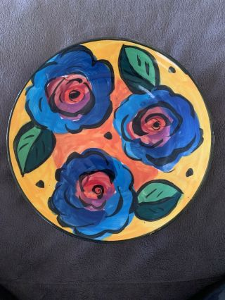 "Mary Rose Young 1995 Art Studio - Hand Crafted Pottery - Rose Plate 7 3/4"" Signed"