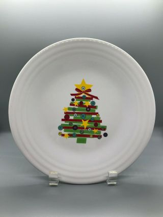Fiesta Christmas Craft White Luncheon Plate | Fiestaware Lunch Tree Button Quilt