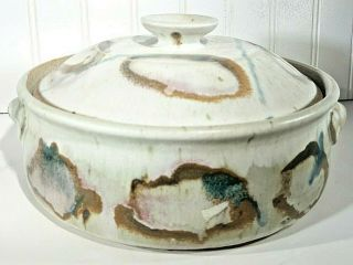 Studio Art Hand Crafted 2 Quart Abstract Casserole Lidded Dish Artist Signed