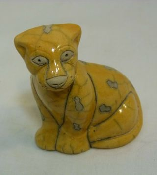 The Fenix Raku Pottery Baby Leopard Hand Crafted In South Africa
