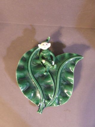 Vintage Green Treasure Craft Art Pottery Elf Pixie Sprite On Leaves Wall Pocket