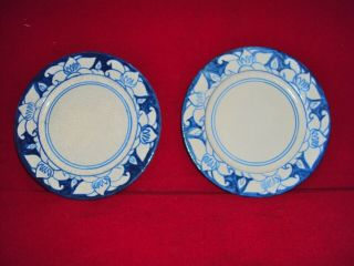 2 Dedham Pottery Arts And Crafts Flower Azalia Magnolia Border Plates 7 1/2 ""