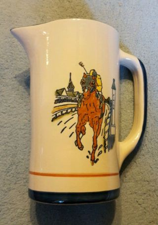 "Louisville Stoneware Kentucky Crafted "" Finish Line "" Kentucky Derby 7 "" Pitcher"