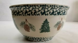Very Large 4 Qt Serving Bowl Tienshan Folk Craft Holiday Pines Trees Pine Cones