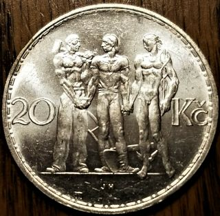 1933 Czechoslovakia Brilliant Au Silver Coin - Industry Agriculture Business (b)