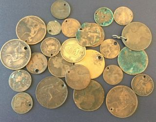 25 1800s Up Victoria Pierced Coins Jewelry Crafts Pendant Uk Penny Farthing Coin