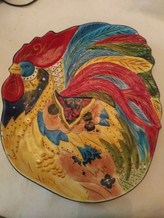 Tabletops Gallery Jalisco Rooster Platter Individually Hand Crafted And Painted