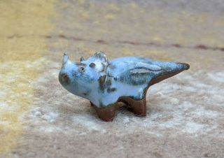 Blue Ceramic Triceratops Dinosaur Handmade Ceramic Art Craft Star Garage