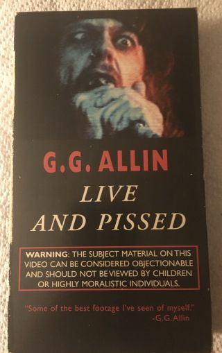 Gg Allin Live And Pissed Live Vhs Tape Nov 1988 Show Footage Only One On Ebay