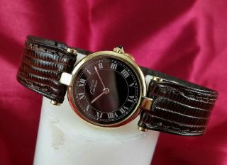 Ladies Must De Cartier Watch.  Gold Plated.  With Factory Box