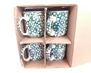 Set (4) Folk Craft Moose Country By Tienshan Tea Cup Coffee Mug Green 10 Oz