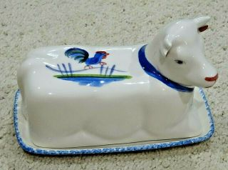 Vintage Ns Gustin Co.  Hand Crafted Covered Ceramic Butter Dish – Cow – Usa – Euc