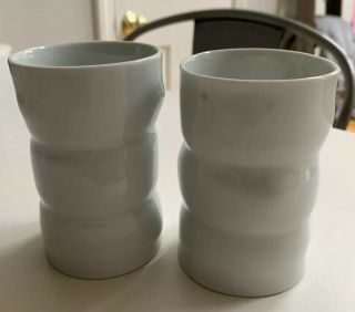 Sam Chung Hand Crafted Pottery,  4 Inch White Cups Bud Vases - Set Of 2