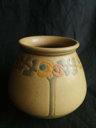 Marblehead Art Pottery Arts And Crafts Squat Vase With Rose Trees