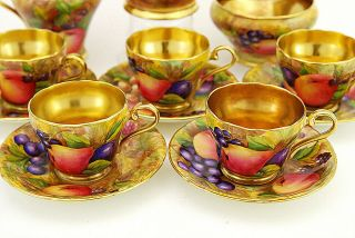 13 Pc Aynsley Orchard Gold Dessert / Tea Set