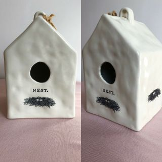Vintage Rae Dunn M Studios Nest Icon Birdhouse Very Rare Early Dimples Gift