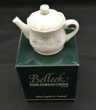 Belleek Fine Parian China Winter Snowflakes Mini Teapot Hand Crafted In Ireland