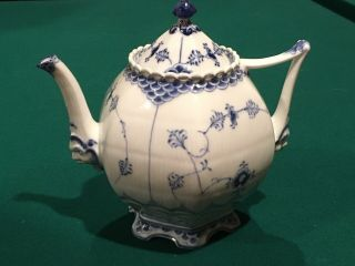 Blue Fluted Royal Copenhagen Tea Pot - Full Lace 1119 - 1st Quality -