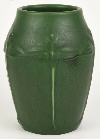 Hampshire Pottery Matte Green Arts And Crafts Vase Decorated With Flowers