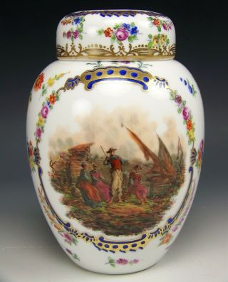 "Meissen Dresden Hand Painted Floral Harvest Scene 7 "" Tea Caddy Covered Jar 1870"